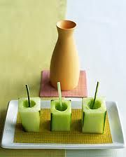 cucumber sake cups. I've made these, they're so easy!