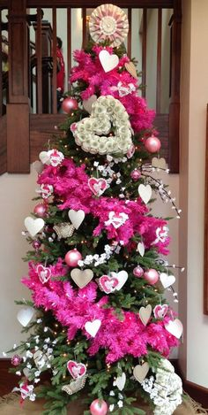 Pink and green are a classic pair, so your faux fir will look lovely decked out with heart decorations for Valentine's Day. Christmas Trees, Christmas Stuff, Holiday Tree, Xmas Tree, Christmas Tree Decorations, Purple Christmas Tree, Holiday Decor, Christmas 2019, Funny Valentine