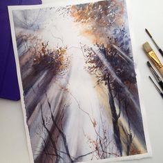 "1,016 отметок «Нравится», 58 комментариев — Tatiana, Moscow, watercolor (@tatka_o) в Instagram: «""Light through the crown"" My work from master-class by I. Ibrjaev! ""Свет сквозь крону""  Рисовала…»"