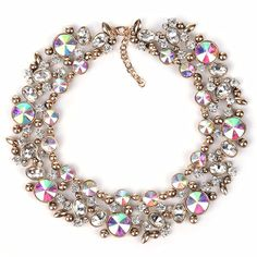 2016 Maxi Necklaces Pendants Fashion Colorful Choker Green Beads Gem Collier Femme Statement Necklace Women Jewelry Shourouk