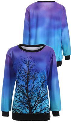 $17.52 Ombre Tree Print Sweatshirt