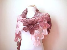 Pink Floral Shawl - Girly, Light, Powder, Blush and Dark Pink Triangle Accessories - Gift for Her - Ready to Ship via Etsy
