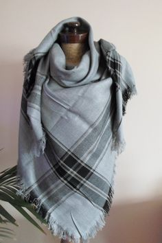 Oversized Merino Wool Scarf - Plaid Please 12 by Leo by VIDA VIDA 94QSl6Gld