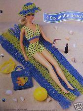 Crochet Fashion Doll Pattern BEACH TOWEL & BAG