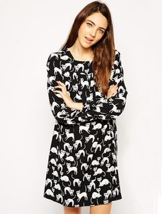 Black Long Sleeve Cat Print Swing Dress