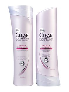 Hair (shampoo and conditioner—color-treated hair): Clear Scalp & Hair Beauty Therapy Damage & Color Repair Nourishing Shampoo and Conditioner restore moisture and softness, leaving color as bright as when you stepped out of the salon
