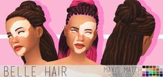 "chocolatemuffintop: "" DOWNLOAD BELLE HAIR (DROPBOX) I really like how this turned out :D • maxis match • base game • hat compatible • extra ombre colours :D • all lods • no issues i could find message if any :) • teen-elder • custom thumbnail TOU:..."
