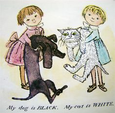 """From """"Karen's Opposites"""" by Alice and Martin Provensen, 1963 Funny Cat Memes, Funny Cat Videos, Funny Cat Pictures, Funny Cats, Alice Martin, Arte Dachshund, Children's Book Illustration, Book Illustrations, Cat Face"""