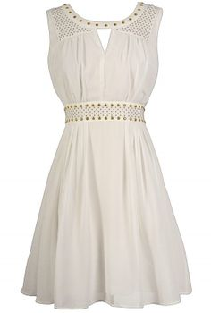 Gold Studded Chiffon Dress in Ivory www.lilyboutique.com