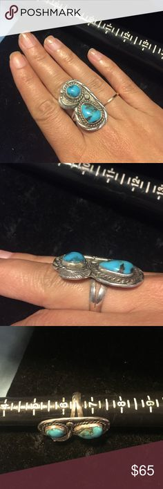 Sterling Silver Vintage Turquoise Ring Beautiful two stone Vintage Turquoise Ring! Size 6.5 Jewelry Rings