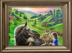 """'""""I love you💕Please don't eat my mommy"""" painted by Jean Cathcart. Painting of the day!!😘😘😘❤️❤️❤️ Have a pleasent Wednesday my friends!!😘' created in #neybers"""