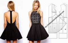 T - back dress pattern Diy Clothing, Sewing Clothes, Clothing Patterns, Dress Patterns, Fashion Sewing, Diy Fashion, Ideias Fashion, Fashion Trends, Costura Fashion