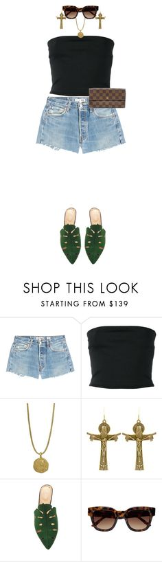 """""""Love is a better master than duty."""" by quiche ❤ liked on Polyvore featuring RE/DONE, Balmain, Charlotte Olympia, Sun Buddies and Louis Vuitton"""