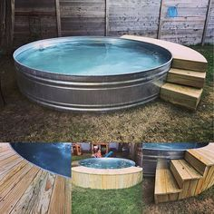 Working on all the finishing touches to spruce up the A HUGE shoutout to for another fabulous job at our home. Diy Pool, Small Backyard Pools, Swimming Pools Backyard, Backyard Patio, Backyard Ideas, Stock Pools, Stock Tank Pool, Piscine Diy, Backyard Retreat