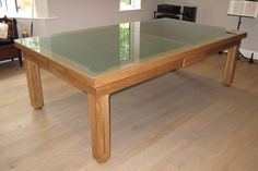 Modern Pool Table Range / Pool Dining Range with frosted glass top. Oak colour 5. www.luxury-pool-tables.co.uk