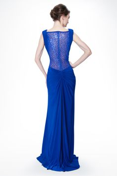 Draped Jersey and Sequin Gown with Sequin Back in Neptune - Tadashi Shoji #fashion #blacktie