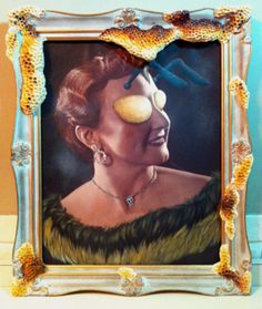 "'Queen Bee' - 22"" x 28"" acrylic on vintage photo & mixed media decorated frame.        P. Treadwell"