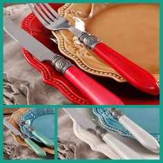 Pioneer Woman Flatware. I like the 'antique' look of it, but I'd prefer it to be all silver instead of an enameled handle. Still stinkin adorable!