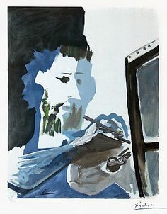 Le Peintre (The Painter), 1963, a color lithograph by artist Pablo Picasso. Picasso lithographs for sale at Masterworks Fine Art Gallery.