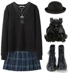 black sweater, school girl skirt, combat boots, backpack. Kinda grunge-y, but I can dig it. Needs something more goth-y though.