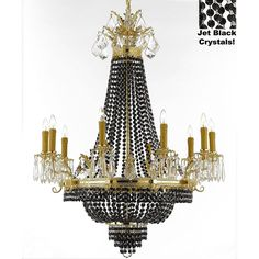 """Gallery French Empire Crystal Chandelier Chandeliers H32"""" W25"""" - Dressed with Jet Black Crystals"""