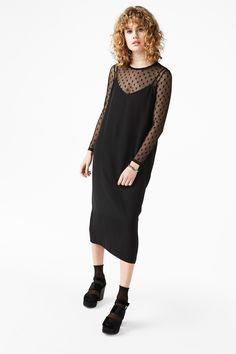 Monki Image 2 of Midi slip dress  in Black