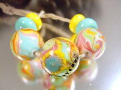 Handmade lampwork glass bead set by Stephanie by AvasBeadGarden, $32.00