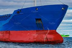 Blue cargo ship moored by New SIGHT Photography on @creativemarket
