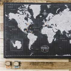 World travel map pin board wpush pins modern slate slate conquest maps travel map giveaway sciox Images