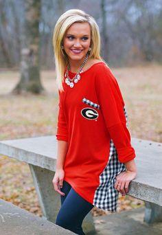 a71a0e06 GEORGIA GINGHAM PIKO TOP Georgia College, Georgia Girls, Bulldogs Football,  Mississippi State,
