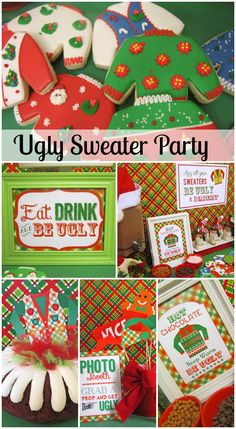 Fun ugly sweater Christmas party ideas, including cookies, hot chocolate, and cake! See more party ideas at CatchMyParty.com. #uglysweater #christmas
