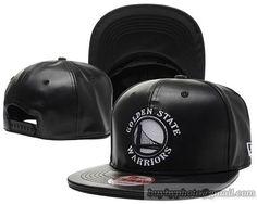 6c3c6c651af79 Golden State Warriors All Black Snapback Hats All Leather Black