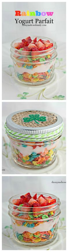 Rainbow Yogurt Parfait  www.thenymelrosefamily.com #stpatricksday #healthysnack