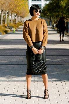 brown Zara sweater - Chanel bag - faux leather Zara skirt