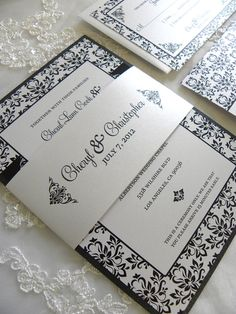 Elegant Black and White Damask Wedding Invitation Set by citlali, $40.00
