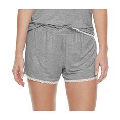 Women's SONOMA Goods for Life™ Pajamas: Essential Scallop Hem Shorts, Size: Medium, Med Grey