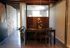 polished concrete floor, exposed wood beams, reclaimed wood, brooklyn townhouse, #RemontNYC