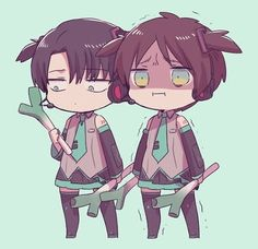 Eren and Levi are not happy to be Miku. Looks like Eren's about to go full Titan