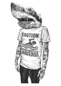 Shark Boy T Shirt Art, A2 cartridge paper with B Pencil