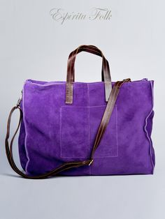 TOTE BAG $130.- leather suede in violet, collection available at espiritufolkstore.com