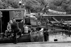 FRANCE. Bougival. River Seine. May 1968. The barge dock on strike. The Seine was blocked by barges.
