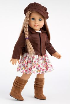 Amazon.com: Urban Explorer - Brown Motorcycle Jacket with Paperboy Hat, Dress and Boots - 18 Inch American Girl Doll Clothes: Toys & Games
