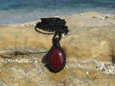 Ruby healing stone macrame pendant