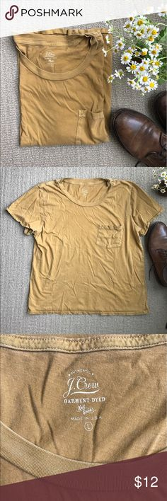 """J Crew Garment Dyed T-Shirt Casual, lightweight tee perfect for summer. Softer mustard than it comes off in photos. Parting with it cause it's not long enough for my taste. Measurements are: 21"""" wide and 23.5"""" from shoulder to bottom hem. J. Crew Tops Tees - Short Sleeve"""