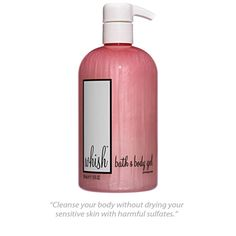 Whish Beauty all-natural bath & body gel packed with organic shea butter, organic raspberry butter, and organic aloe.