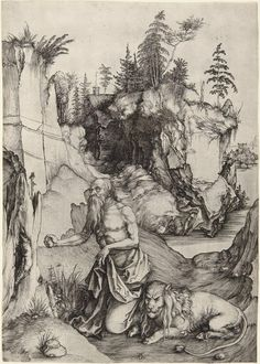 St Jerome Penitent in the Wilderness. Durer. 1496. Engraving. 324 x 228 mm. Metropolitan Museum of Art. New York.