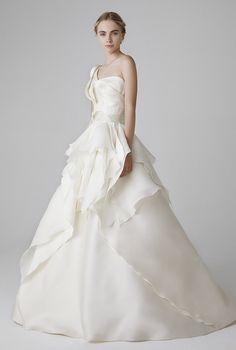 Vestido de Noiva de Peter Langner (Valerie), corte em a, decote outros, comprido