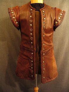 Jerkin Men's Medieval, brown studded leather