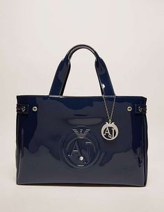 blue Armani Jeans Patent Shopper