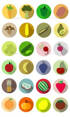 Buy Flat Fruits and Vegetables Icons by on GraphicRiver. What we have here is a single EPS file that contains 24 vector icons fruit and 12 vegetable). Each icon is groupe. Flat Design Icons, Icon Design, Logo Design, Graphic Design, Game Design, Fruit Icons, Food Icons, Restaurant Icon, Nutrition